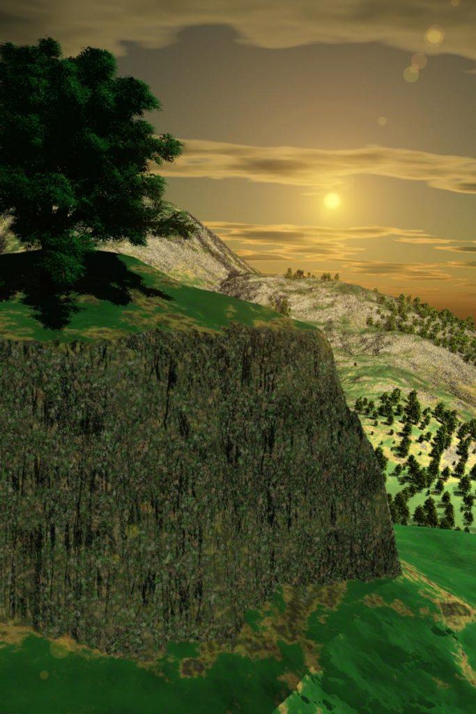 ilustracion renderizada de paisajes
