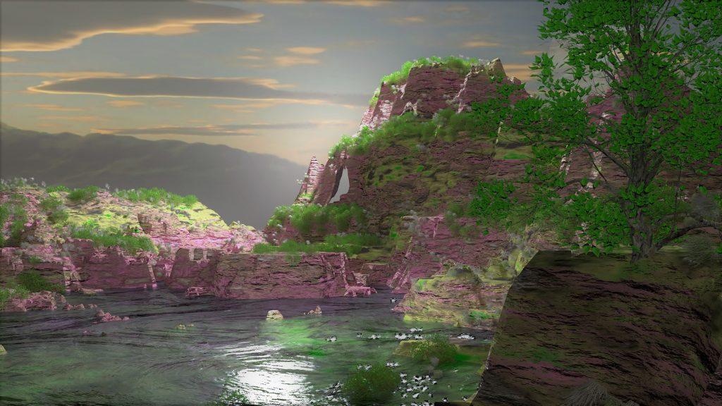 paisaje cañon con rio al atardecer cerca